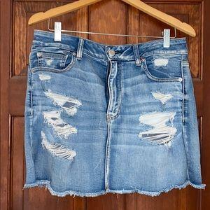 American Eagle Distressed Denim Skirt